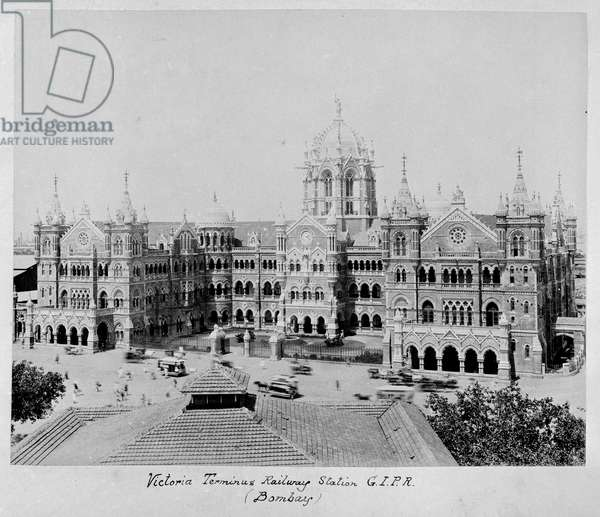 Victoria Terminus Railway Station G.I.P.R. (Bombay) from 'Album of views of Aden, Madras, Bombay, Andaman Islands, Burma', c.1880 (b/w photo)