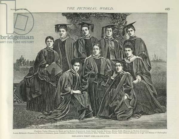 Ireland's first girl graduates'. (Their names are listed below the picture.)