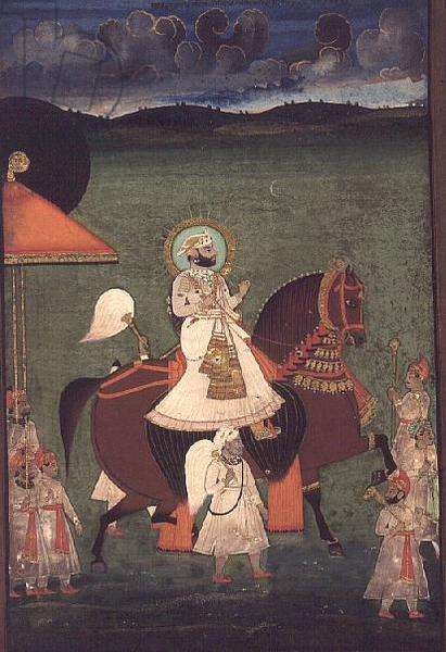 AS10 Album 43 no.4514 Cat no. 514 iii Rana Sarup Singh (1842-61) of Mewar rides upon a chestnut stallion, his retainers on foot carry sunshades and royal accoutrements, Udaipur, c.1855, (opaque w/c)