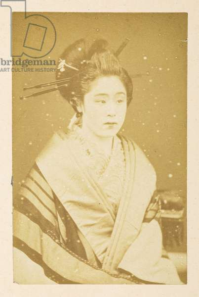 O'Wacka San [Portraits of Japanese women],  Photographer: Unknown Lucas Collection: Photographic record of the world tour of Charles James and Morton P,  Lucas, 1877-79,  Dimensions: 83 mm x 53 mm