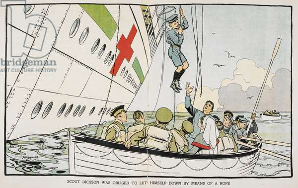 'Scout Dickson was obliged to let himself down by means of a rope'. After the 'Britannic' hospital ship was struck by a torpedo, a number of boy scouts remained on board to help the other passengers. Scout Dickson was one of the last people to leave the ship as it was sinking.