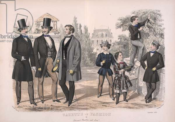 Three men wearing morning coats and top hats. Four children, two girls and boys.