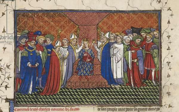 Royal 20 C.VII, fol.216, Coronation of Charles VI, from 'Chroniques de France ou de St. Denis' (vellum)