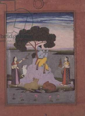 BL cat. no.428, from a Johnson Album no. 20 item 3, Krishna playing to two gopis, Hyderabad, c.1770 (gouache with gold, pink-tinted border)