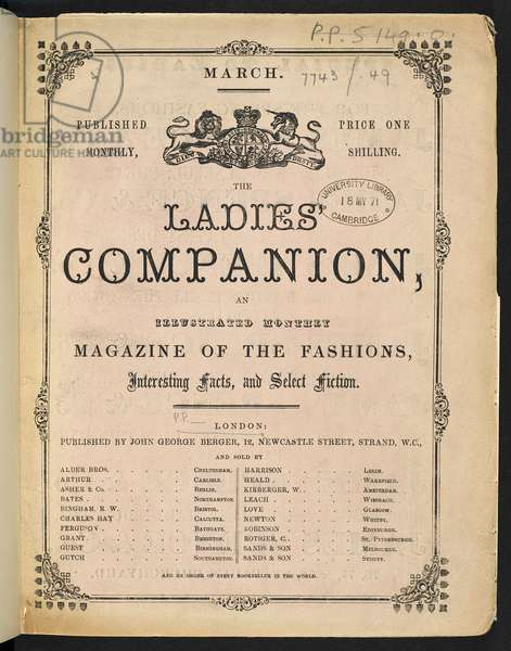 The Ladies Companion, An illustrated monthly magazine of the fashions, interesting facts and select fiction, March 1871 (engraving)
