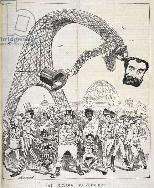 """Au revoir"", Messieurs!"". A cartoon showing the Eiffel Tower."