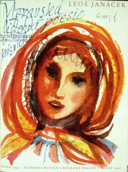 """Moravska Lidora Poesie"" by Leos Janacek, frontispiece, illustrated by Karel Svolinsky, pub. Prague, 1947"