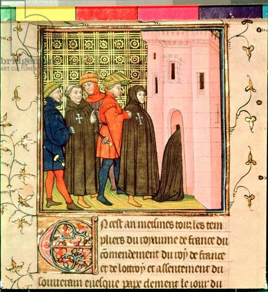 Roy 20 C VII f.42v Arrest of the Templars, 1308 (vellum)