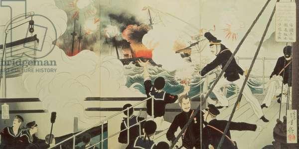 The Terrible War of General Sakamoto, 1894 (colour woodblock print)