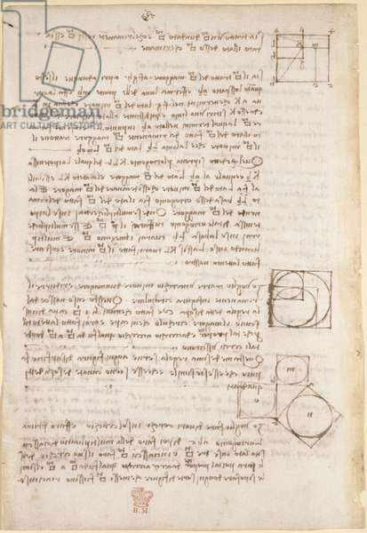 Arundel 263, f.26v, Notes and diagrams on geometry, from 'Codex Arundel' (pen & ink on paper)