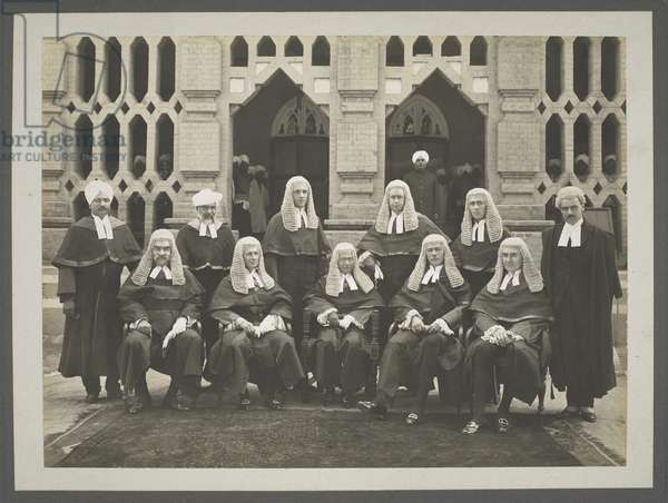 Group of Judges, Lahore, October 1923 (b/w photo)