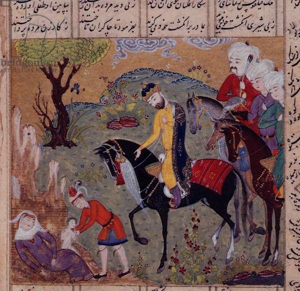 Fol.306v The Birth of Iskandar, from the 'Khamsa' of Nizami, c.1505 (gouache on paper)
