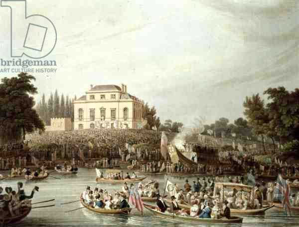 Arrival of the Watermen at Brandenburgh House, 1820 (colour litho)
