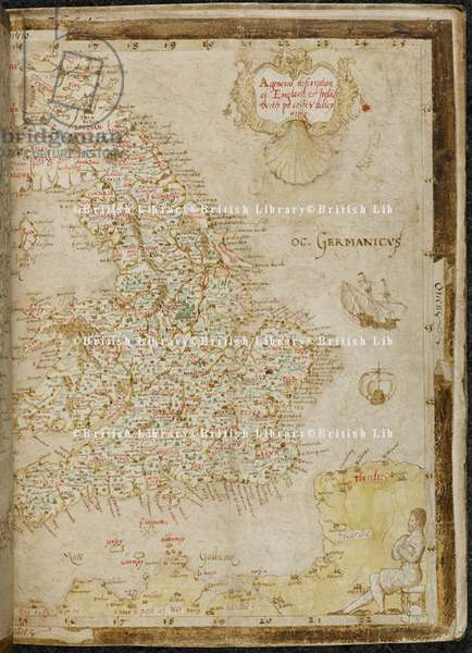 Add. 62540, f.4 A Map of England, from the 'Nowell-Burghley Atlas', by William Cecil, Lord Burghley, c.1564 (colour litho)