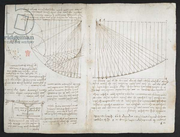 Notes and a diagram on optics, concerning the caustics of reflection; drawing of a lathe designed to manufacture concave mirrors; mathematical calculations, Arundel 263, f.84v, c.1503-5 (pen & ink on paper)