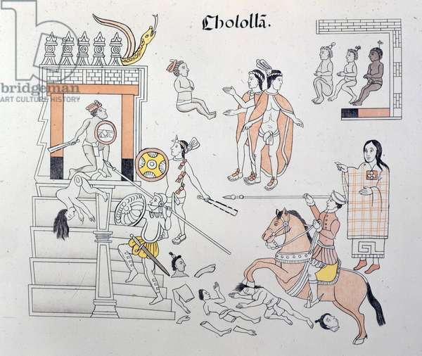 """Spanish soldiers fighting the Aztecs at Cholula, Mexico, 1519 (1892). From """"""""Homenaje á Cristobal Colon. Antiguedades Mexicanans publicadas por la Junta Colombina, etc"""""""". (""""""""Homage to Christopher Columbus"""""""") by Alfredo Chavero. (Mexico, 1892). The British Library ©The British Library Board/Leemage"""