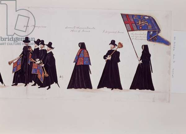 Funeral Procession of Queen Elizabeth I, 1603 (pen & ink on paper)