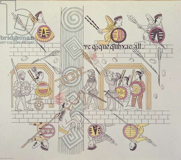 Spanish and Aztecs, from 'Homenaje a Cristobal Colon' by Alfredo Chavero, 1892 (colour litho)