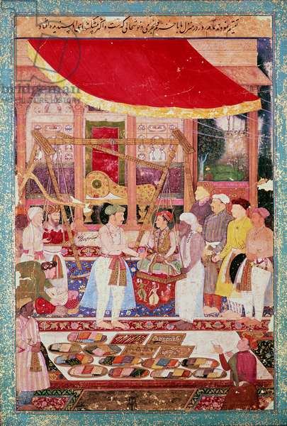 Prince Khurram (later Shah Jahan) (1592-1666) being weighed in gold and silver before Jahangir (1569-1627), from an album (now dispersed) of the 'Tuzuk-i-Jahangir' (The Memoirs of Jahangir), c.1615, Mughal, (gouache)