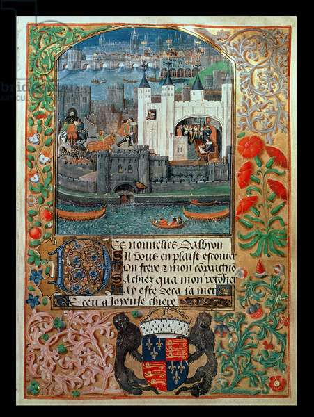 Royal Ms 16 F II, f.73: Tower of London and shipping, with Charles, Duke of Orleans seated in the Tower writing, from Poems of Charles Duke of Orleans, c.1500 (vellum)