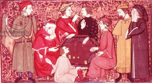 Add.27695 Gamblers round a Table, illustrated by Cibo, from Cocharelli's 'Treatise on the Vices', (vellum)