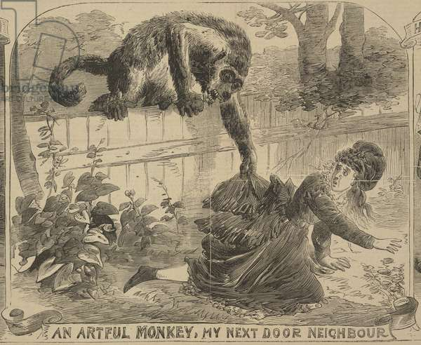 'An Artful Monkey, My Next Door Neighbour', illustration from the 'Illustrated Police News', 24th August 1872 (litho)