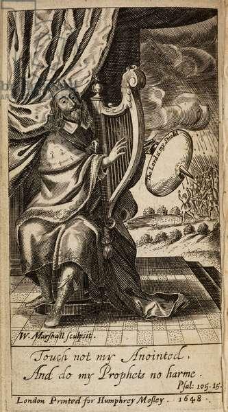 King Charles I, depicted as King David, playing a harp.