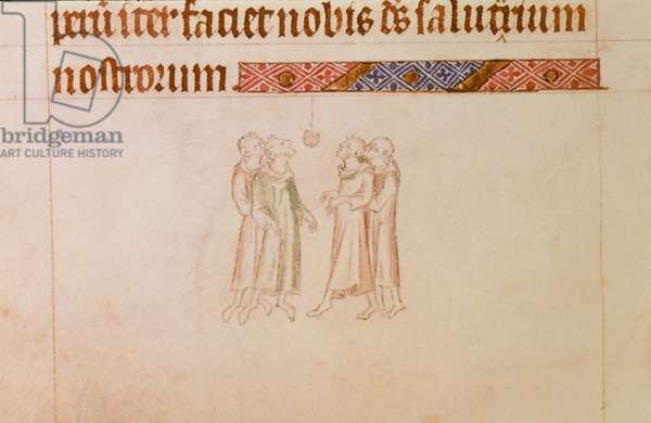 Royal 2 B.VII f.166v Four men playing at bob-cherry, from the 'Queen Mary Psalter', c.1310-20 (vellum)