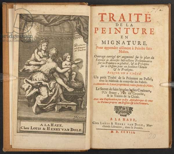 Frontispiece and title page of 'Traité de mignature, pour apprendre aisément à peindre sans maître', 1708 (engraving)