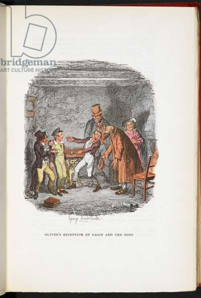 Oliver's reception by Fagin and the boys, from The Adventures of Oliver Twist ... With twenty-four illustrations by Cruikshank, 1911 (colour litho)