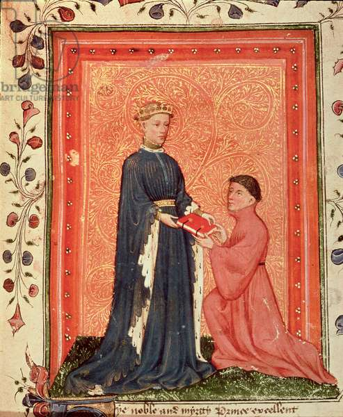 Arundel 38 f.37 Thomas Hoccleve presenting his book `Regement of Princes', to the Prince of Wales (later Henry V) c.1411-13 (vellum)