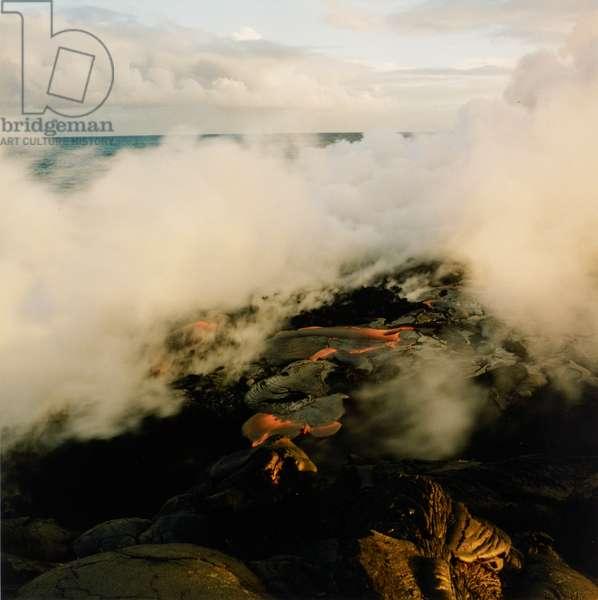 Volcano erupting in Hawaii.