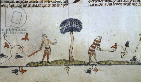 F.94v Men playing Ball Game with Bats, from the Smithfield Decretals, c.1340 (vellum)