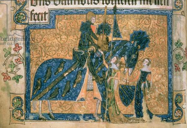 Sir Geoffrey Luttrell on horseback from the 'Luttrell Psalter', c.1325-35 (vellum)