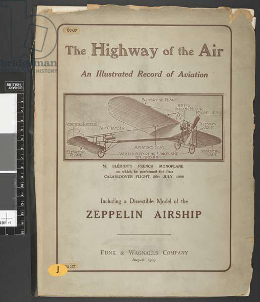 8767.m.37 Title page.The Highway of the Air. An illustrated record of aviation ... Including a dissectible model of the Zeppelin airship.London ; New York : Funk & Wagnalls Co., 1909.