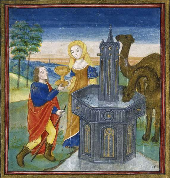 "Rebecca a la fontaine offre de l'eau au serviteur d'Abraham et lui indique qu'elle est destinée a etre la femme d'Isaac. Miniature tiree de Speculum humanae Salvationis"""", 15eme siecle. The British Library, Institution Reference: Shelfmark ID: Sloane.1977 Rebecca at the fountain offers water to Abraham's servant and his camels, indicating that she is destined to be Isaac's wife. Two camels stand nearby drinking from the same ornate fountain, set in a landscape. From """"Speculum humanae Salvationis"""".  ©The British Library Board/Leemage"