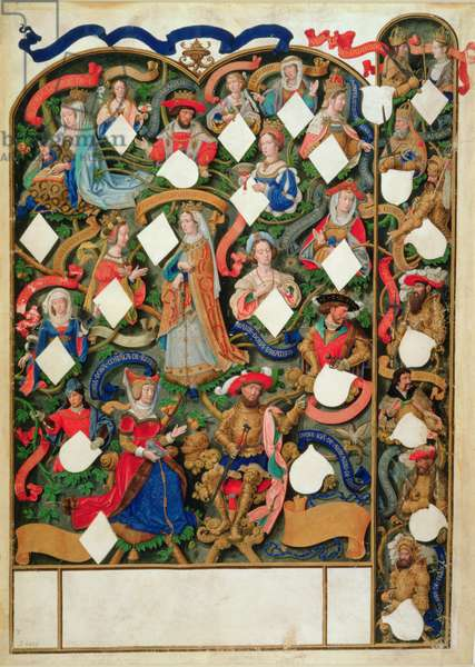 Add Ms 12531 f.10 Genealogical tree of John of Gaunt, 1530 (vellum)