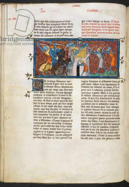 Royal 16 G VI, f.118v Siege of Avignon, from 'Les Grandes Chroniques de France', 1332-50 (vellum)