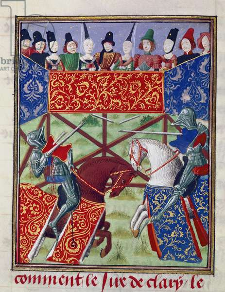 Harley 4739, fol.19v French knights jousting, from 'Froissart's Chronicles (Volume IV part 1)', 1470-75 (vellum)