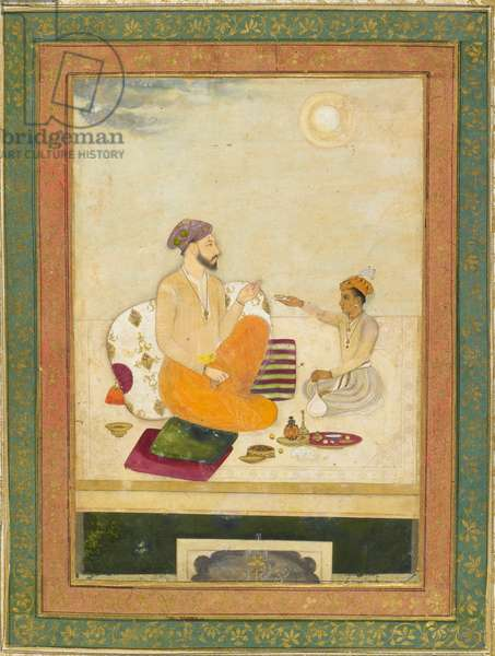 Dara Shikoh offering a wine cup to Shah Jahan (ink & colour on paper)
