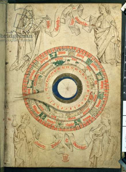 Egerton Ms 2575 fol.51 The Barber-Surgeon's volvelle, late 15th century (vellum)