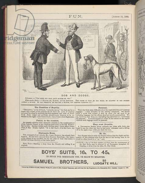Dog and Dodge, cartoon published in Fun magazine, 15th August 1868 (engraving)