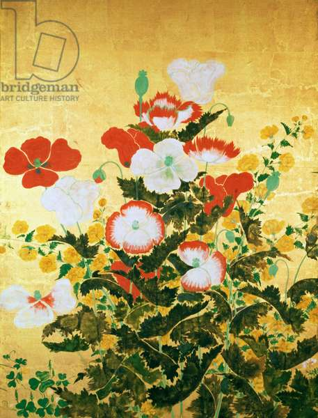 Flowers of the Seasons, c.1800 (screen panel, ink and colour on gold background)