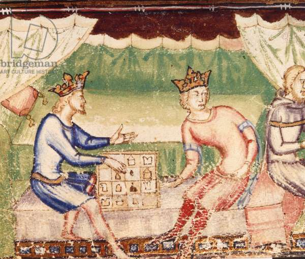 Add 12228 f.23 Kings playing chess as a messenger arrives