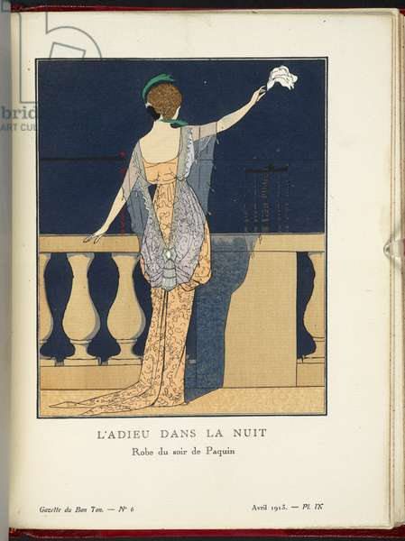 Farewell at Night, design for an evening dress by Paquin, 1912 (colour litho)