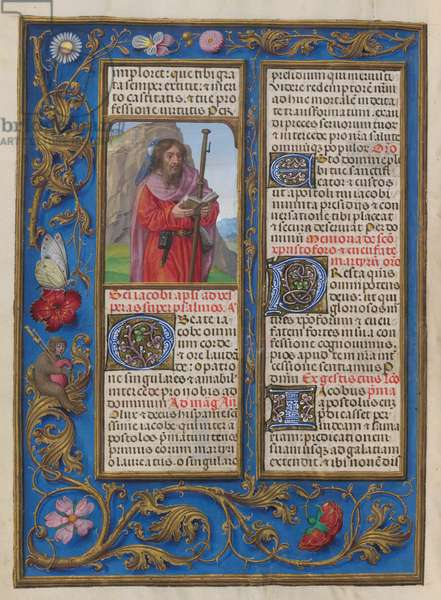 Sanctorale. Common of the Saints. St. James the Great. Floral border. Text and initials. Border containing flowers and insects.