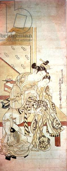 The love letter, (colour woodblock print)