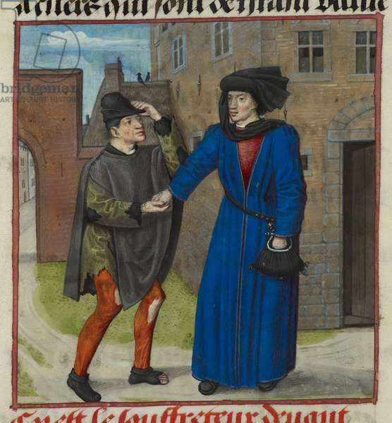Harley 4425 f.47v Detail of a miniature of a sufferer being given money by his true friend, from Roman de la Rose, c.1490-1500 (vellum)