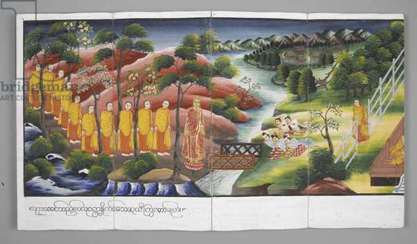 Or. 13534, f.23 Monks crossing a river, Scenes from the Life of Buddha (parchment)