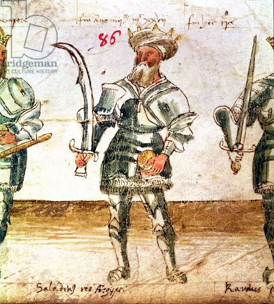"Add 30359 f.86 Saladin (1138-93), Sultan of Egypt and Syria from the ""Six Ages of the World"" represented by historical personalities from Adam to Pope Boniface VIII, Italian, 15th century"